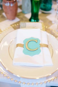 White and Gold Place Settings with Turquoise Monogram