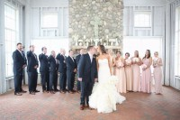 Pink Bridesmaid Dresses and Navy Groomsmen Suits