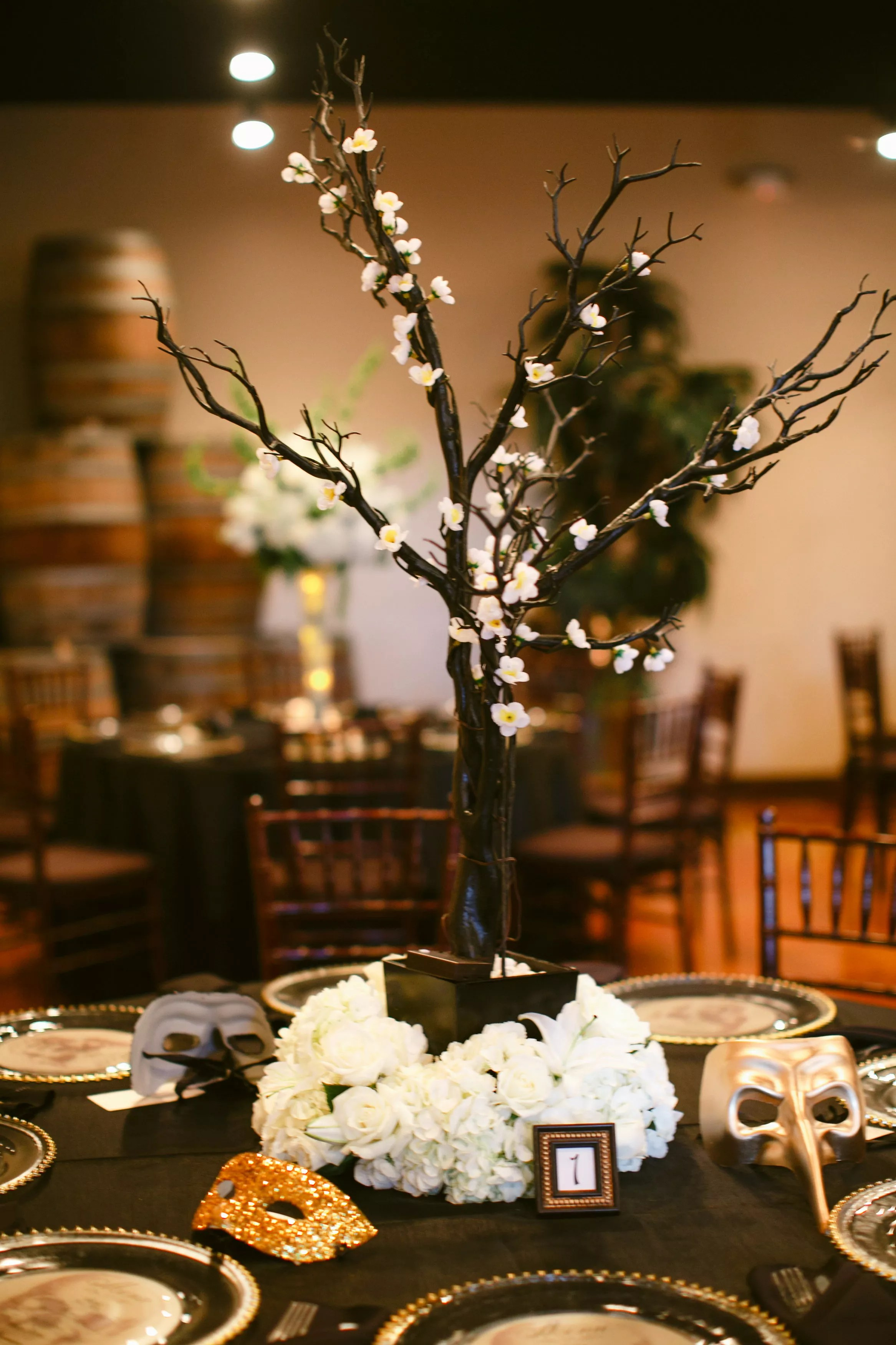 Manzanita Tree Centerpieces with Flower Lights