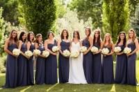 Floor-Length Slate-Colored Amsale Bridesmaid Dresses