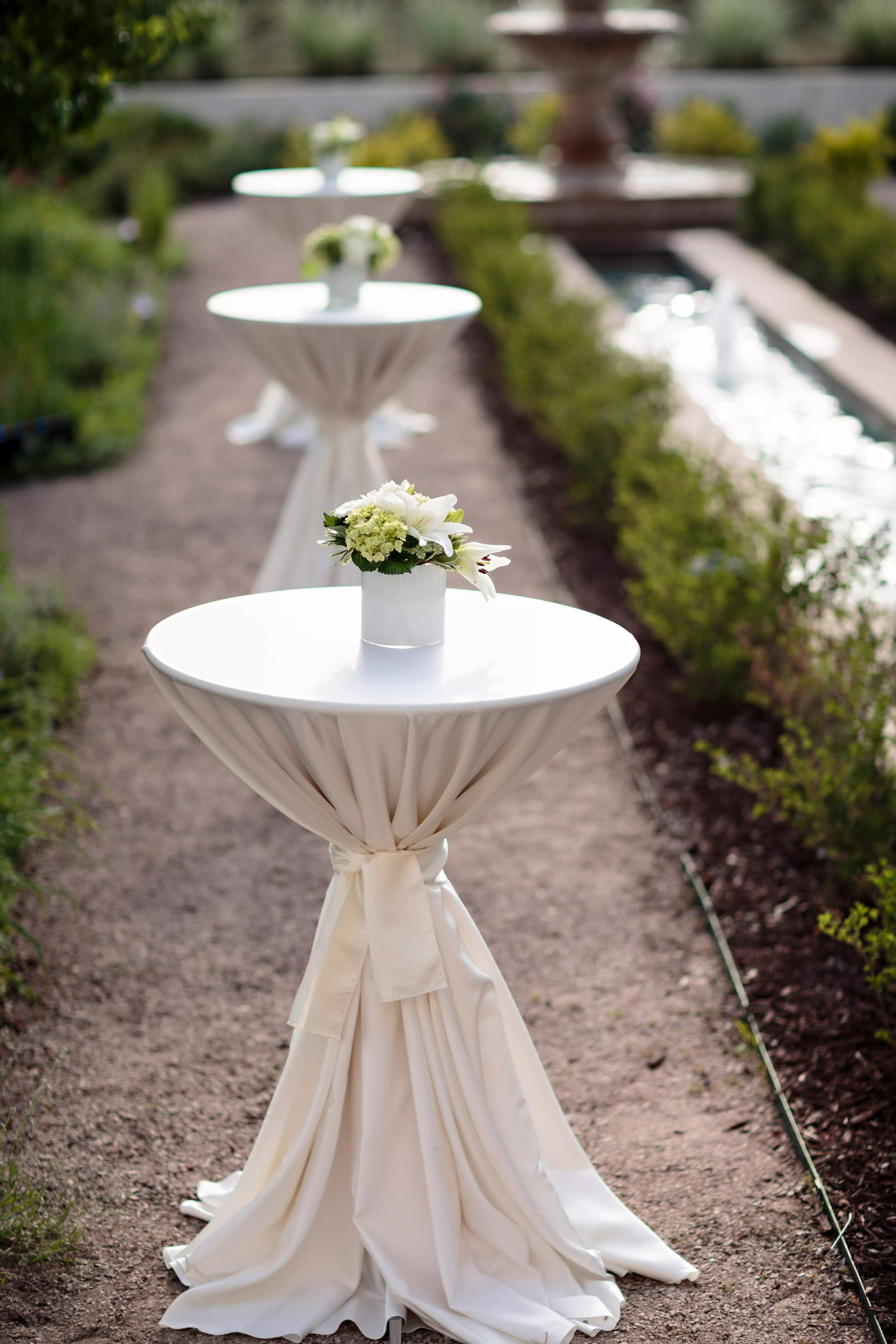 Lily and Hydrangea Cocktail Table Centerpieces