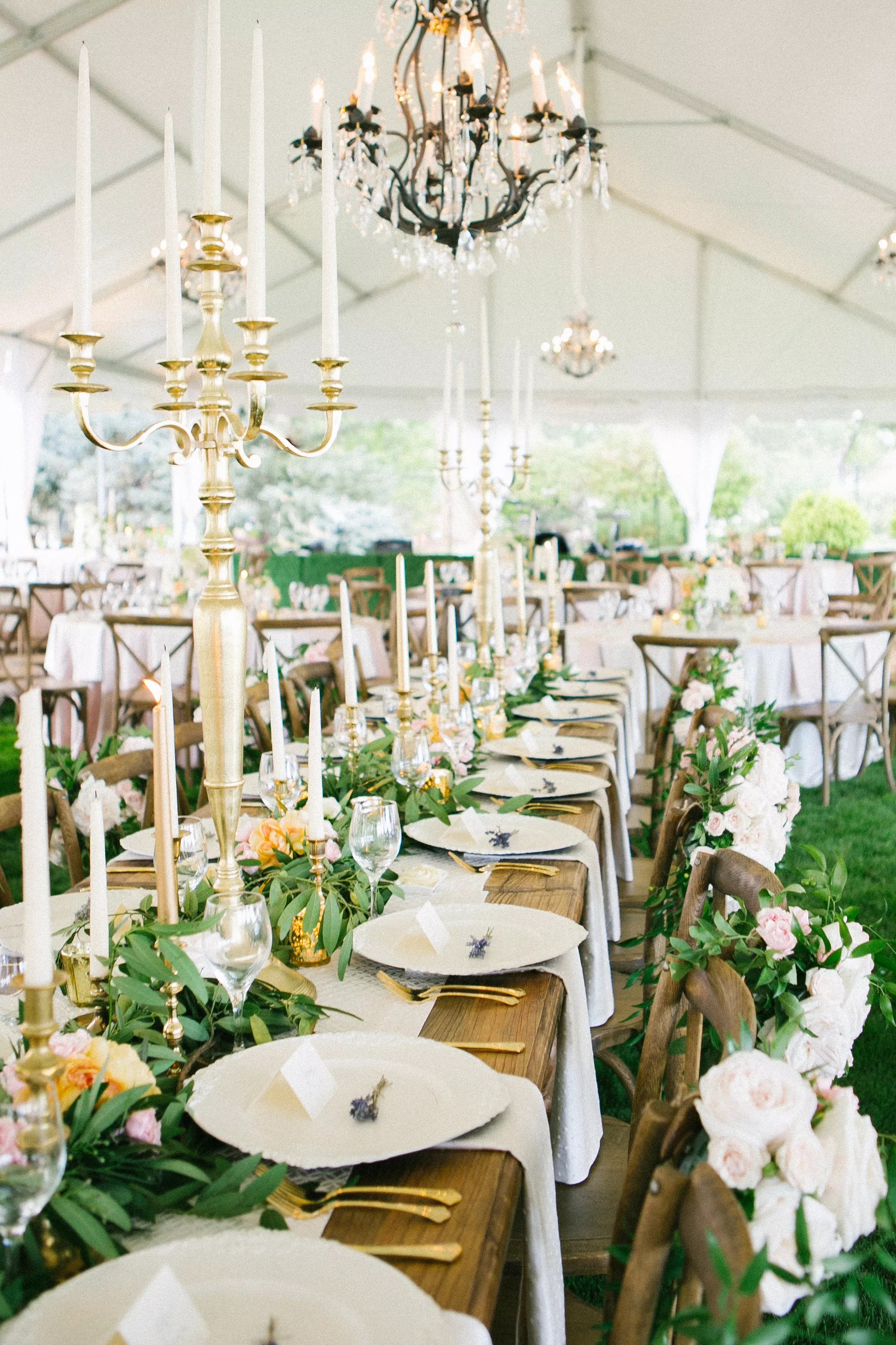 Leafy Garland Taper Candle Wedding Centerpieces