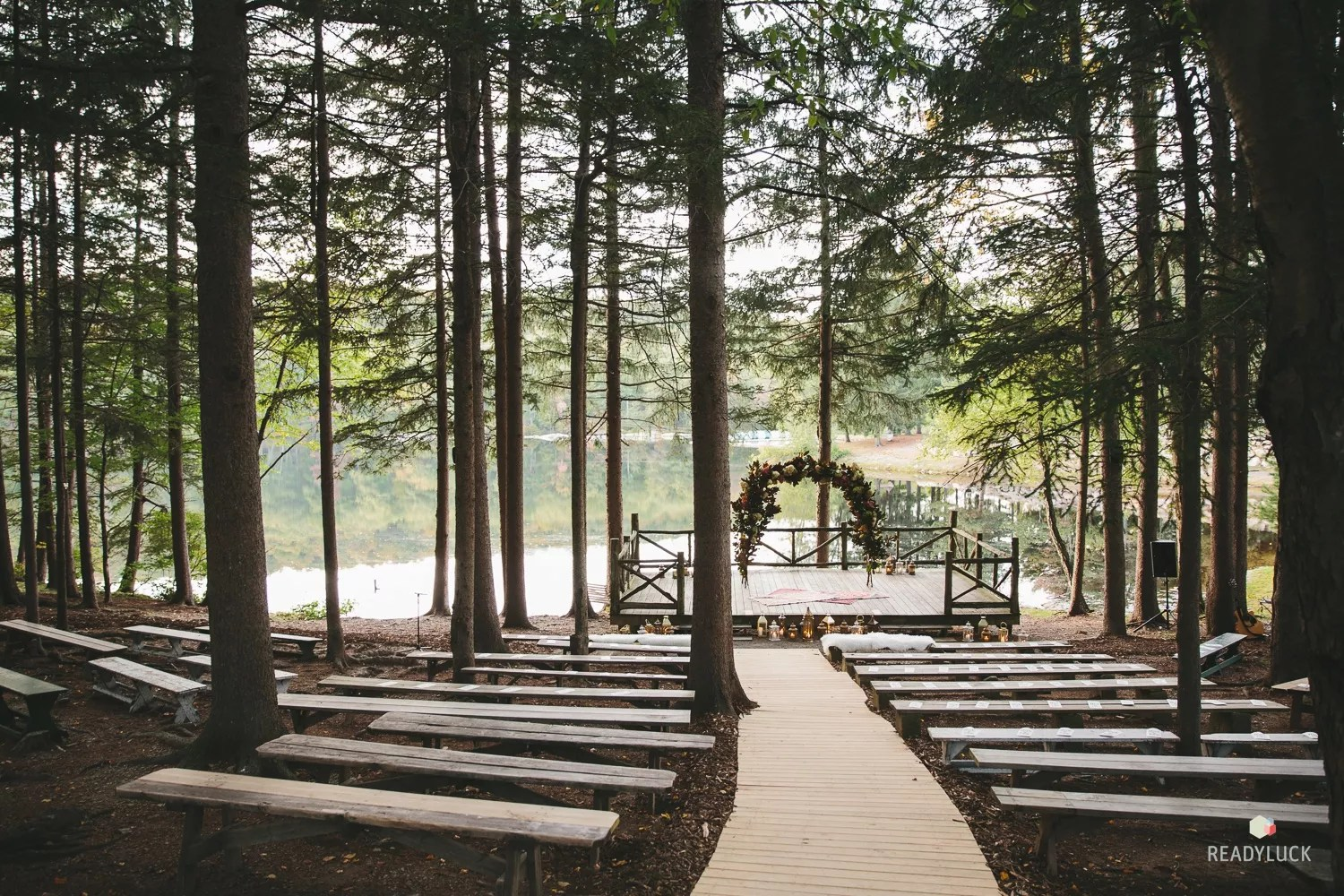 Forest Wedding Ceremony At Cedar Lakes Estate