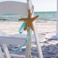 Starfish Wedding Chair Decorations Stand Test Aisle Decor With Aqua Ribbon