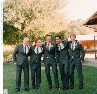 to match the bridesmaid dresses roger and his four groomsmen wore blue ties with their