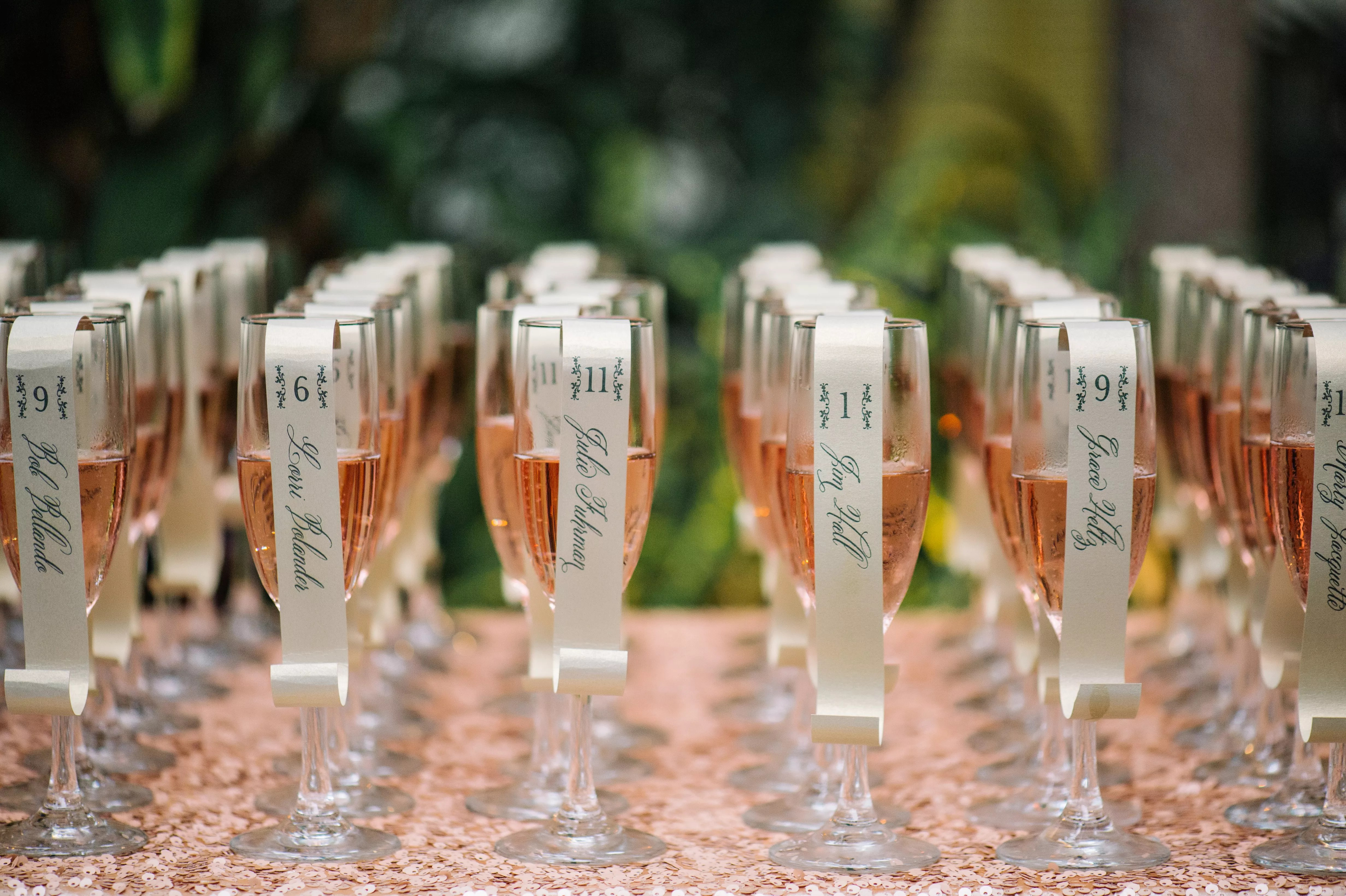 Fun Scroll Escort Cards, Pink Champagne