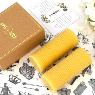 Beeswax candles pillars - Ambroise - box of 2