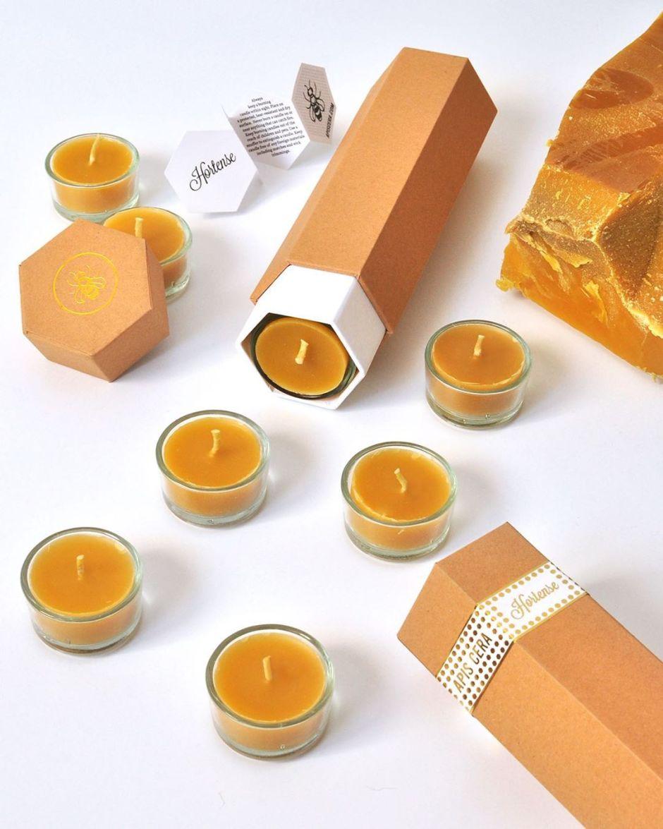 Bougies chauffe-plat en cire d'abeille - Hortense - boîte de 8