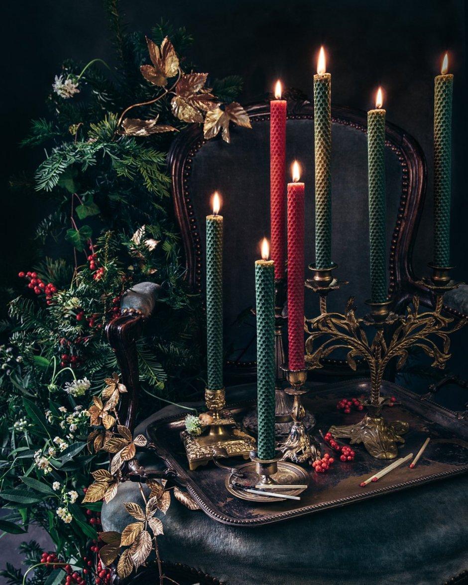 Bougies chandelles en cire d'abeille - Lucienne - Edition de Noël