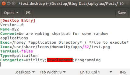 Shortcut file for Application
