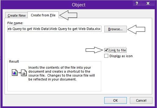 Link Excel worksheet to Word Document