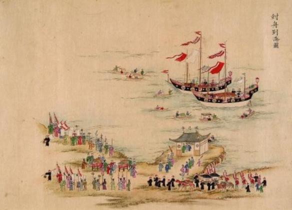 An artist's depiction of a Ryukyuan trade delegation