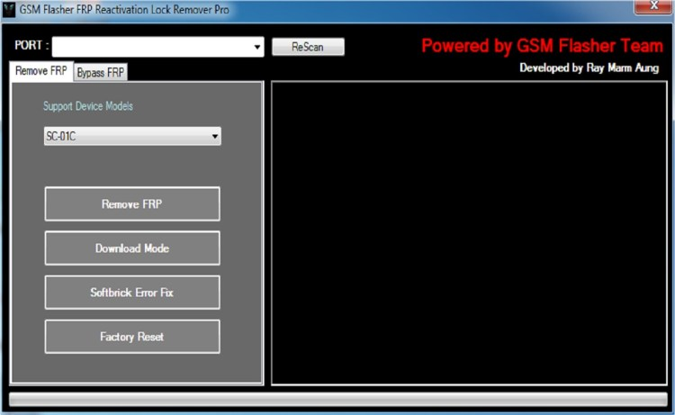 Screenshot of GSM Flasher Tool