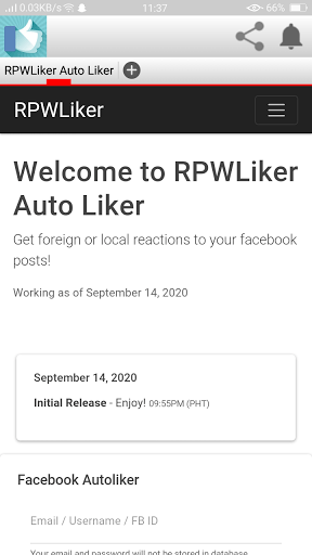Screenshot of RpwLiker