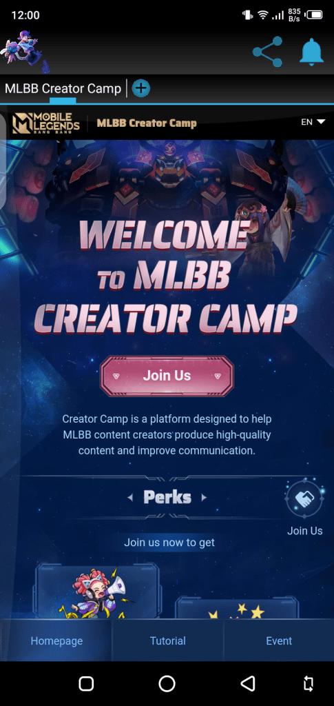 Screenshot of MLBB Creator Camp App
