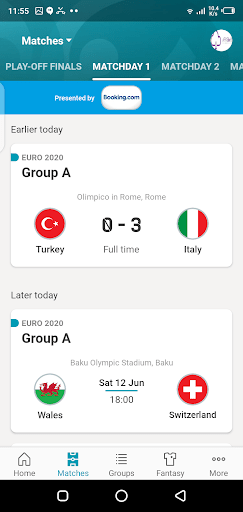 Screenshot of Euro 2020 Android