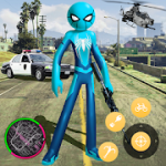 New Spider Stickman Rope Hero Shooting Crime 2020 v1.0 Mod (Unlimited Coin + Gems) Apk