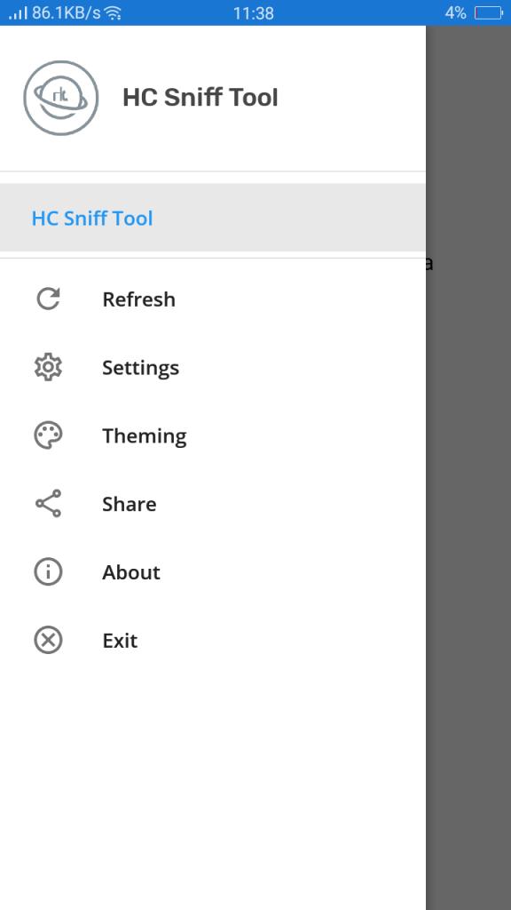 Screenshot of HC Sniff Tool App