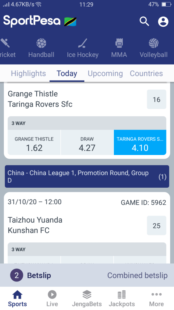 Screenshot of Sportpesa Bet App