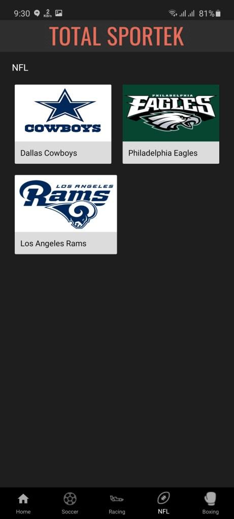 Screenshot of Totalsportek App
