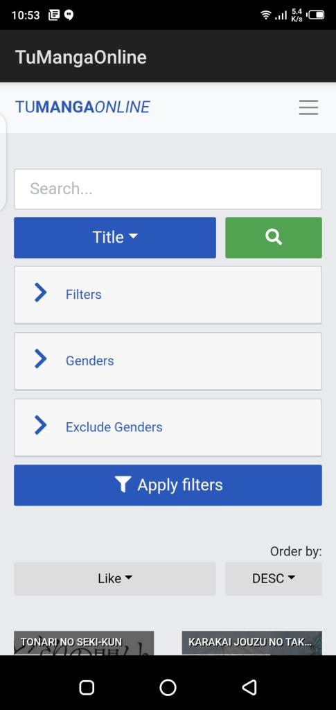 Screenshot of Tu Manga Online App