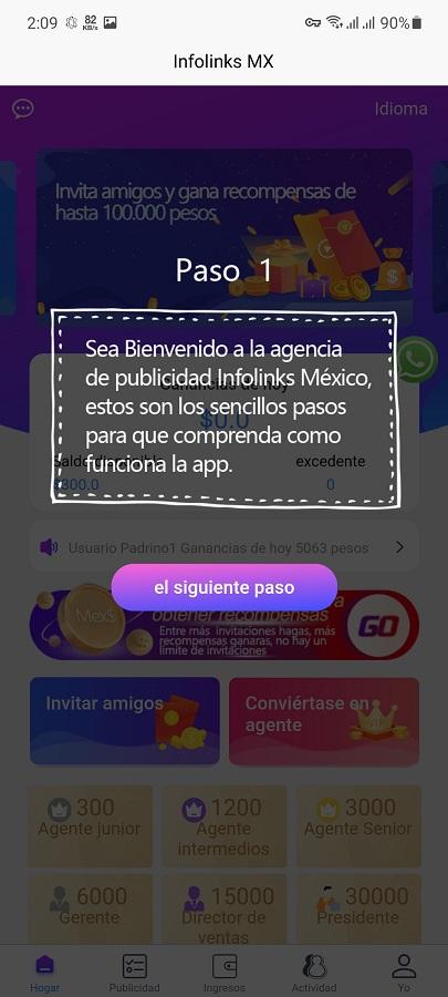 Screenshot of Infolinks MX App