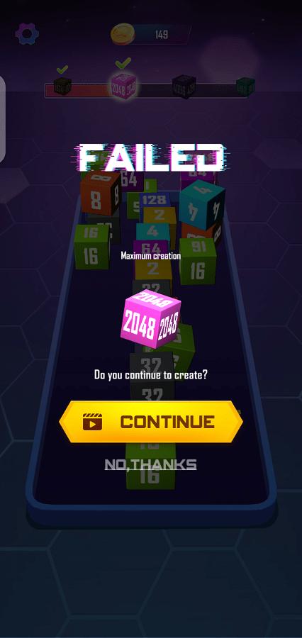 Screenshot of 2048 Cube Winner