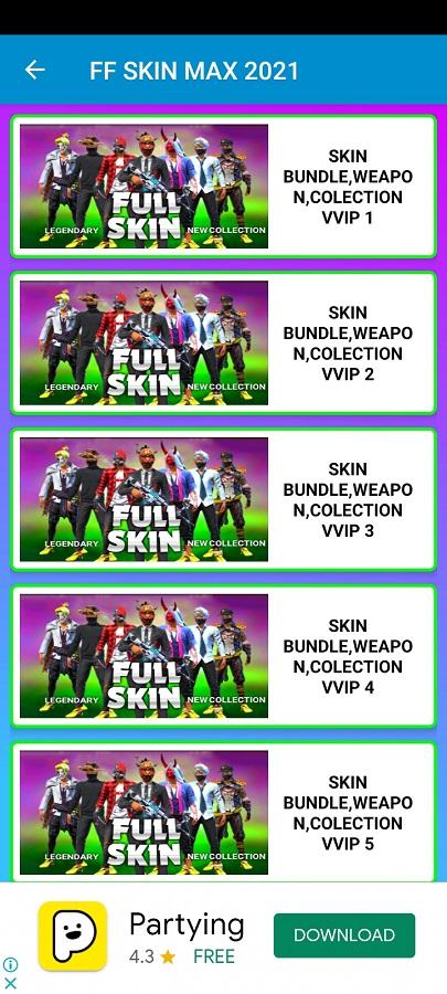 Screenshot of FF Skin Max