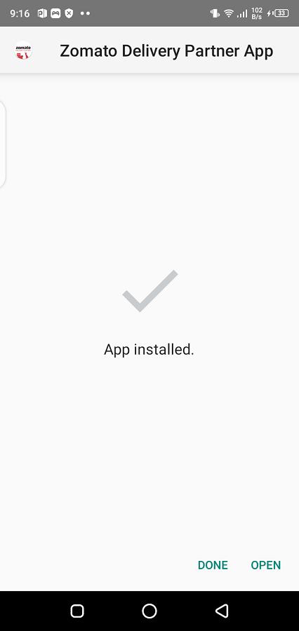 Schermata di l'App Partenariu Zomato Delivery