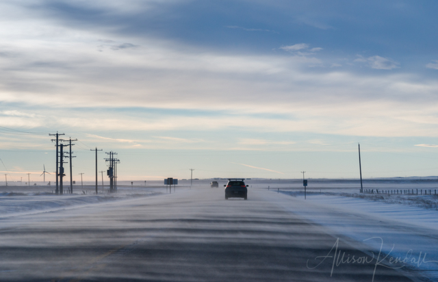 Winter scene of snow blowing at dawn across a highway in rural Alberta, Canada