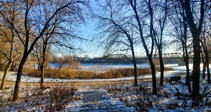 Winter afternoon light and river, Winnipeg, Manitoba
