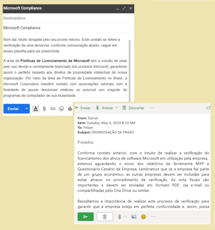 E-mails de compliance sobre licenciamento de softwares