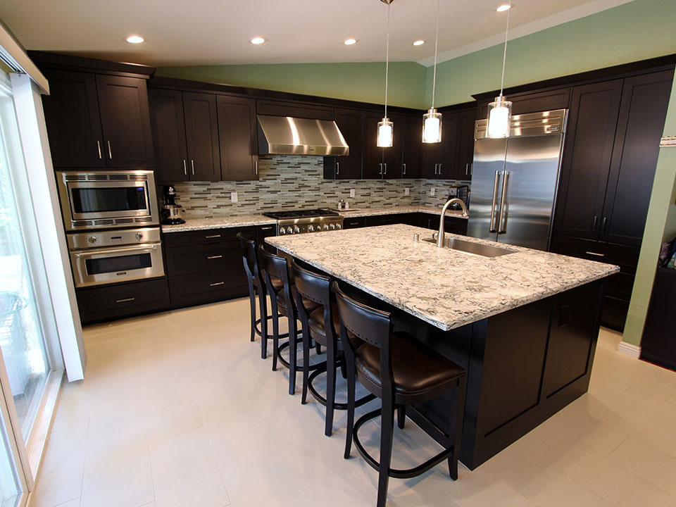 Rowland Heights Modern Black LShaped Kitchen with Custom