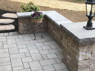 stone patio and block wall in Lancaster, PA
