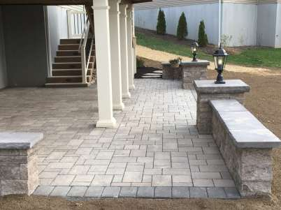 natural stone walkway and block wall in Lancaster, PA