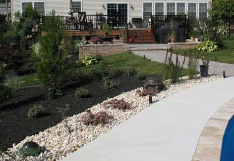 crushed stone garden beds