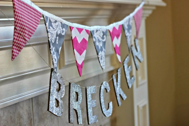 Bunting and baby name tutorial - Baby It's Cold Outside Baby Shower Theme by Missouri lifestyle blogger A + Life