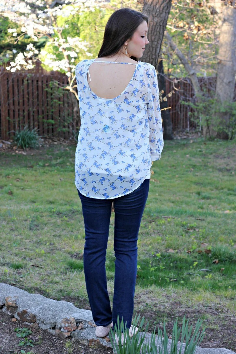 Alice Blue Dalya Open Back Blouse - Stitch Fix Review #12 by Missouri style blogger A + Life