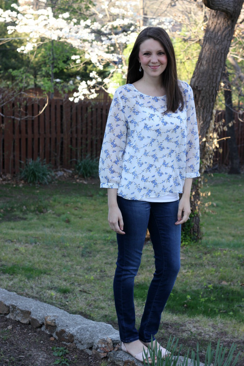 Dalya Open Back Blouse Alice Blue - Stitch Fix Review #12 by Missouri style blogger A + Life