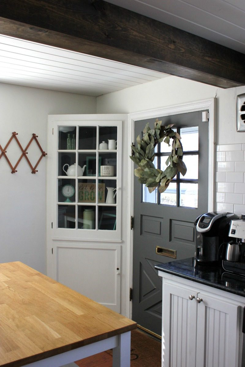 Kendall Charcoal kitchen, Kendall Charcoal, Kendall charcoal kitchen door, gray kitchen door, kitchen door ideas, kitchen doors to outside, farmhouse kitchen door, farmhouse kitchen, small farmhouse kitchens, farmhouse kitchen pictures, ideas for painting interior doors #farmhousekitchen #kitchenstyle #benjaminmoore