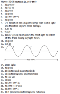 EM Spectrum WS Answers - Regents Physics