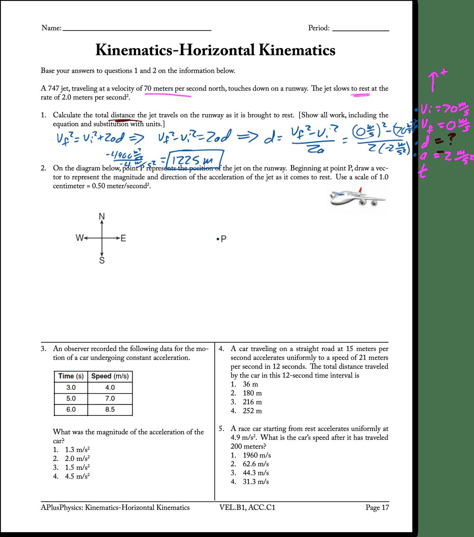 Motion Graphs Kinematics Worksheet