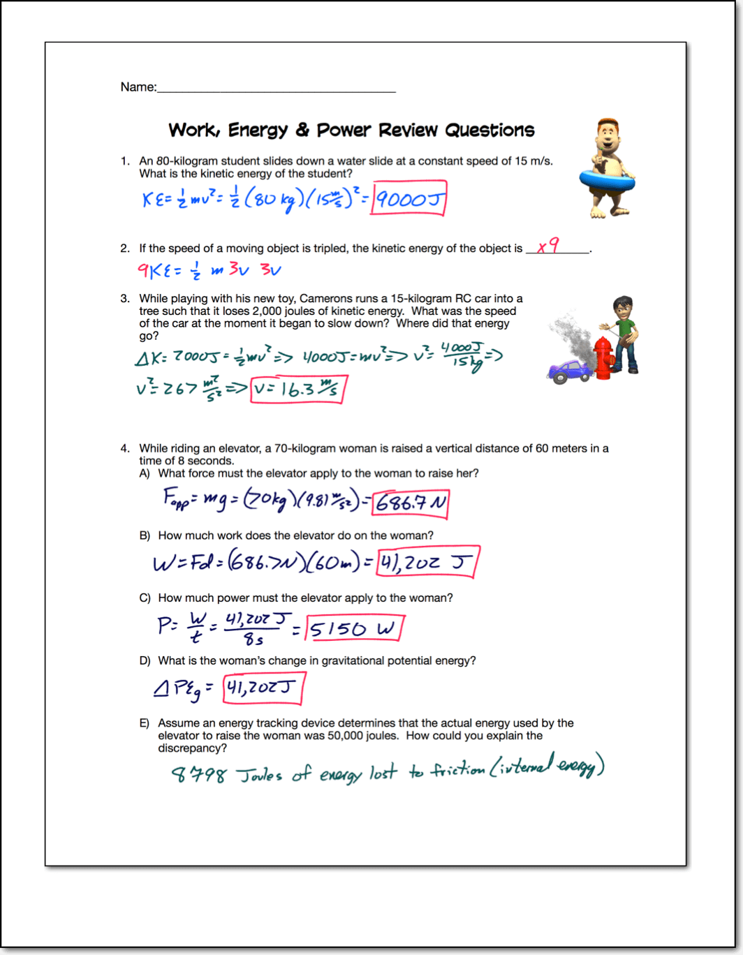 Physics 11 Work Power Energy Worksheet