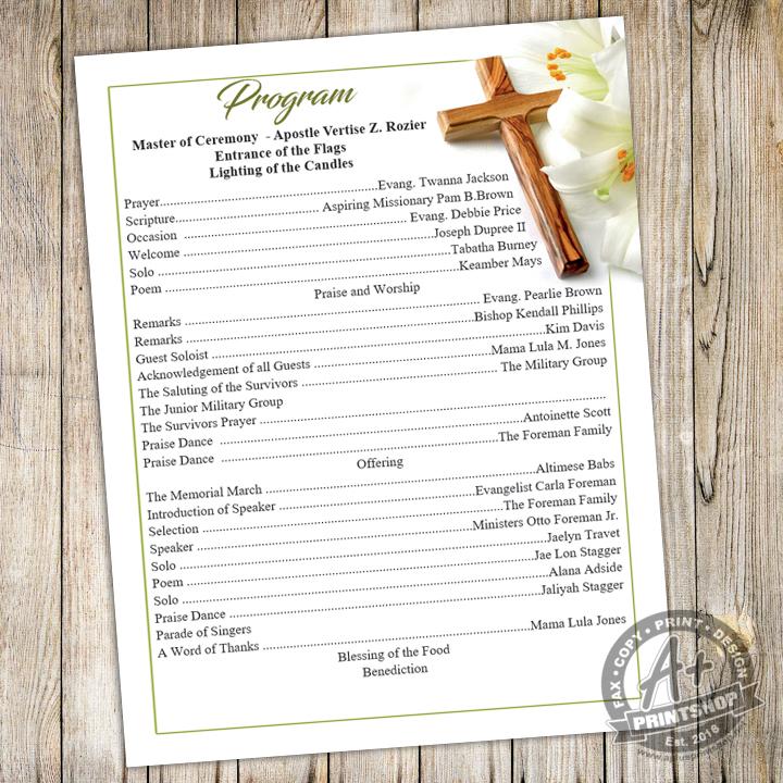 Church Programs – A Plus Print Shop