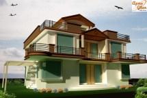 Duplex House Elevation 206 - Houses Plans Design
