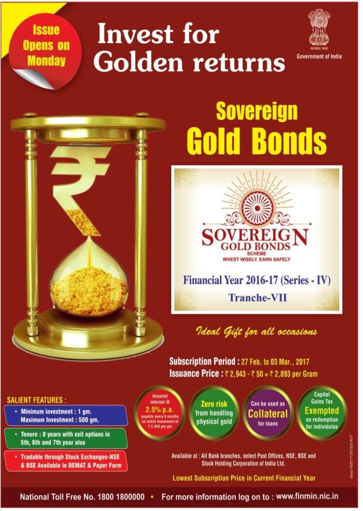 Sovereign Gold Bond - Tranche VII - Series IV (FY 2016-17)