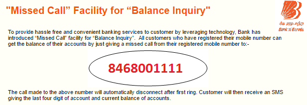 Bank of Baroda Missed Call banking Number