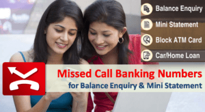 Missed Call Banking Numbers for Balance Enquiry and Mini Statement