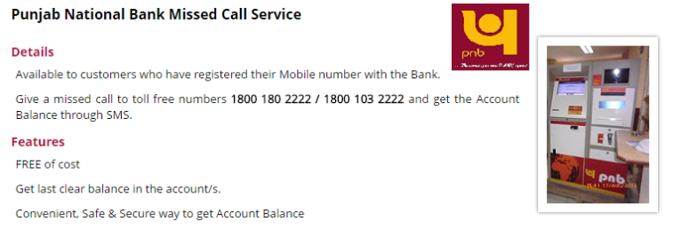 Punjab National Bank Missed Call banking Number