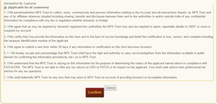 NPS FATCA Online Customer Declaration